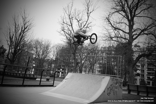 the 24 y.old rider Thijs Vervaeck pumping a nice air at a small ramp in Gent skatepark.