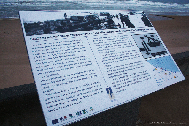 Informative plaque explains D-Day landing events.