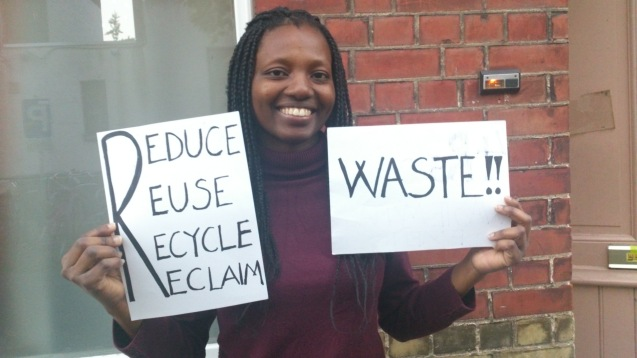 "Linda Buame (Ghana) message is : ""Waste management is easier said than done. If everyone can be more conscious to carry out the 4Rs (Reduce, Reuse, Recycle and Reclaim) practically in dealing with waste, then we can preserve the aesthetic view of our environment. Let's do this together."""