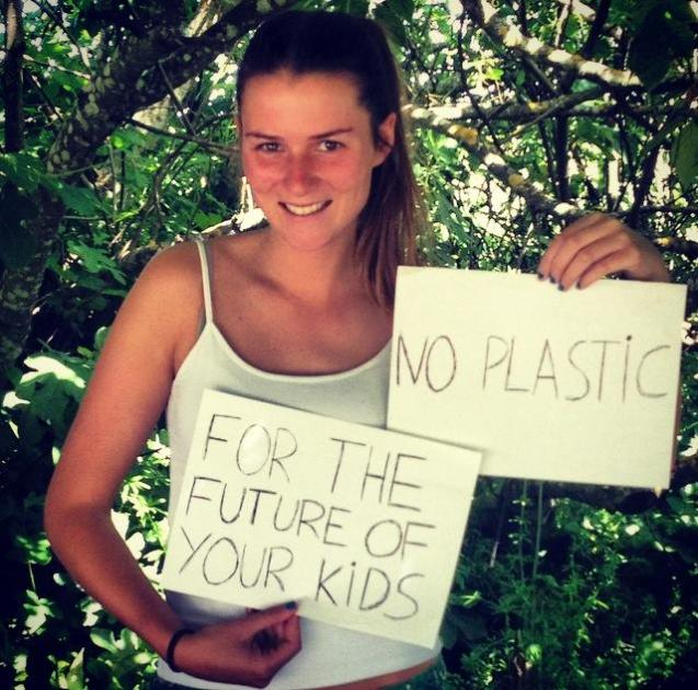 "Mafalda Jorg (Portugal) message is: "" Less plastic - For the sake your kids, and a healthy Earth for the  generations to come!"""